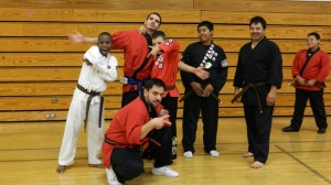 Gangsta Pose: Alan, Cris, Isaiah, Jayden, and Jesus with their new Brown Belts