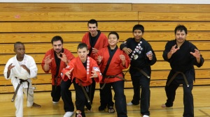 Wrestler Pose: Alan, Cris, Isaiah, Jayden, and Jesus with their new Brown Belts